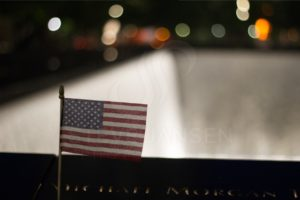 US Flag at 9/11Memorial Pool - Steve Jansen Photography